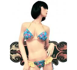 sexy shop online i trasgressivi Bikini Celeste con Stampa Animali e Frange Gialle - Ivete Pessoa