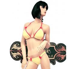 sexy shop online i trasgressivi Bikini Giallo con Bordature Rosa - Ivete Pessoa