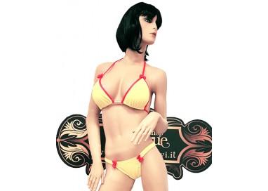 Bikini Transgender - Bikini Giallo con Bordature Rosa - Ivete Pessoa