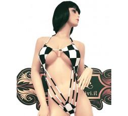 Sexy Shop Online I Trasgressivi - Trikini Transgender - Trikini a Scacchi Bianchi e Neri - Ivete Pessoa