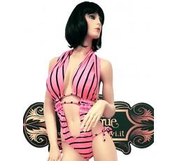 sexy shop online i trasgressivi Trikini rosa con strisce nere - Ivete Pessoa