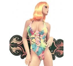 sexy shop online i trasgressivi Trikini Giallo, Verde e Rosa pastelLo con Anelli Rosa e Gialli - Ivete Pessoa