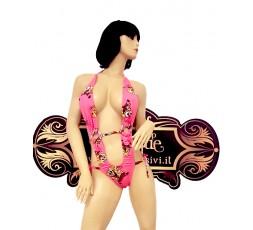 Sexy Shop Online I Trasgressivi - Trikini Transgender - Trikini Rosa con Stampa SpongeBob Chiusura con Laccetto - Ivete Pessoa