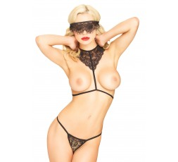 Sexy Shop Online I Trasgressivi - Sexy Lingerie - Body Harness, Mask, String Black - Leg Avenue