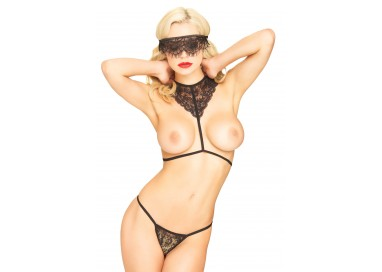 Sexy Lingerie - Body Harness, Mask, String Black - Leg Avenue