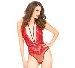 Sexy Shop Online I Trasgressivi - Sexy Lingerie - Floral Lace Deep V Teddy Red - Leg Avenue