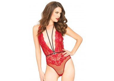 Sexy Lingerie - Floral Lace Deep V Teddy Red - Leg Avenue