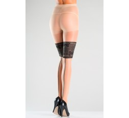 sexy shop online i trasgressivi Collant - Faux Lace Top Tights With Backseam - BeWicked