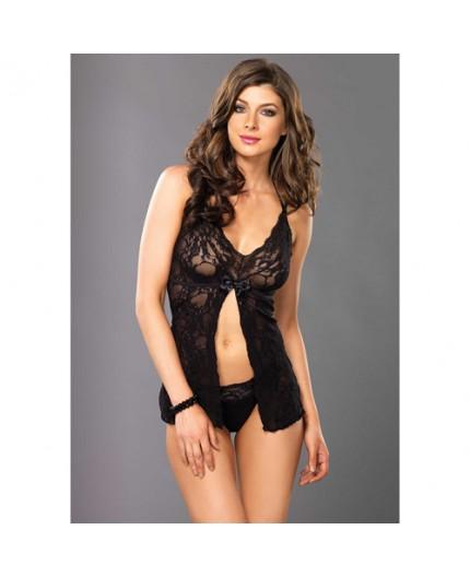 Sexy Shop Online I Trasgressivi - Babydoll Stretch Lace Split Halter Flyaway And Scalloped Lace G String - Leg Avenue