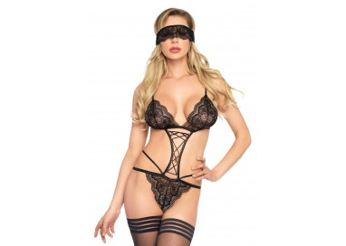 Sexy Lingerie - Body Nero in Pizzo Con Maschera G String - Leg Avenue