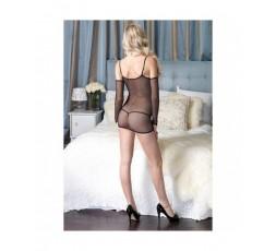 Sexy Shop Online I Trasgressivi - Abito Sexy - Mini Abito Nero Rete Taglia Unica G String - Leg Avenue