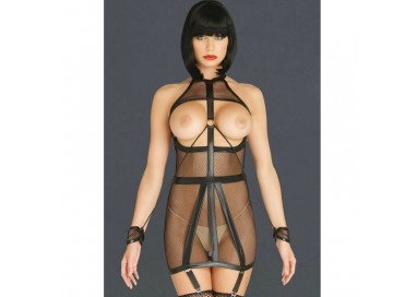 Bodystocking - Guepiere A Rete Nera Wet Look Fishnet Open Cup With O Ring Kink - Leg Avenue