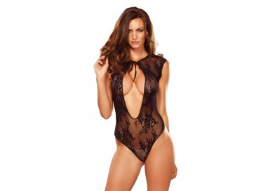 Sexy Lingerie - Stretch Lace G String Teddy Black - Leg Avenue
