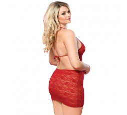 Sexy Shop Online I Trasgressivi - Sexy Lingerie - Open Back Lace Mini Dress Red - Leg Avenue