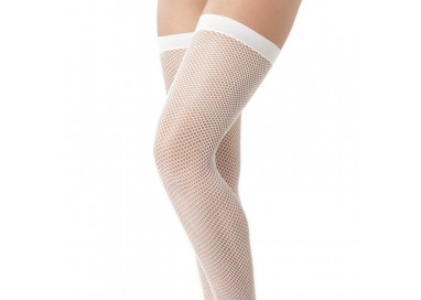 Calze & Collant - Calze a Rete Autoreggenti Bianche Stocking Amorable – Rimba