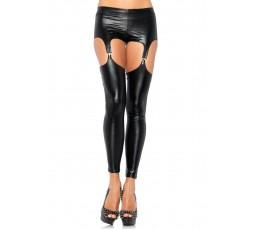 Sexy Shop Online I Trasgressivi - Pantalone & Leggings - Reggicalze e Leggings Nere Effetto Lucido - Leg Avenue