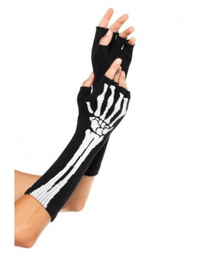 Sexy Shop Online I Trasgressivi - Guanti - Mezze Dita Halloween Black Skeleton Fingerless Gloves – Leg Avenue