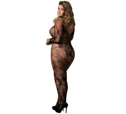 Sexy Shop Online I Trasgressivi - Bodystocking - Bodystocking Nero Rete Floreale Plus Size - Leg Avenue