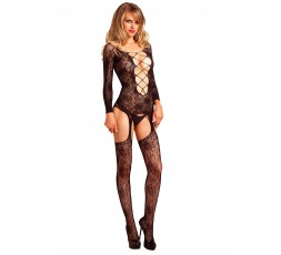 Sexy Shop Online I Trasgressivi - Bodystocking - Floral Suspender Bodystocking Black - Leg Avenue