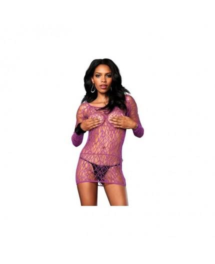 Sexy Shop Online I Trasgressivi - Abito Sexy - Mini Abito Rete Viola Long Sleeve Mini Dress - Leg Avenue
