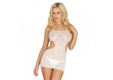 Abito Sexy - Mini Abito Bianco Crochet Lace Halter Cut Out Mini Dress - Leg Avenue