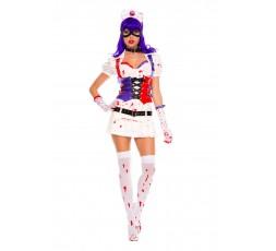 Sexy Shop Online I Trasgressivi Costume Sexy di Carnevale 8 Pezzi Hot Mess Harley Nurse White - Music Legs