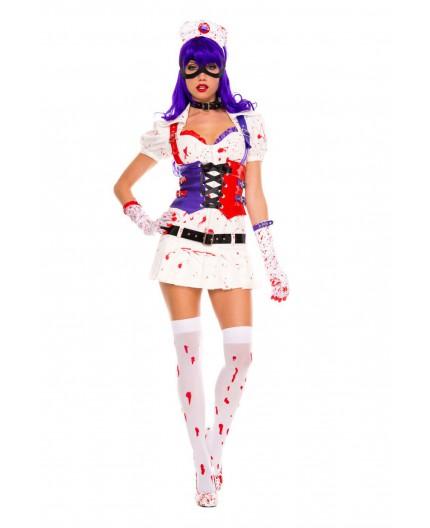 Sexy Shop Online I Trasgressivi - Costume Halloween - Infermiera Dell'Orrore Hot Mess Harley Nurse White - Music Legs