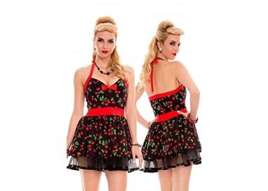 Carnevale Donna - Costume Nero Con Ciliegie - Music Legs
