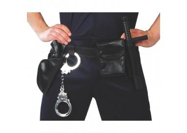 Accessorio Per Carnevale Unisex - Set Cinturone Polizia Completo Nero - Guirca