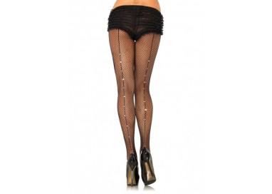 Calze & Collant - Fishnet Pantyhose With Rhinestone Backseam - Leg Avenue