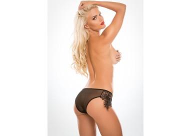Sexy Shop Online I Trasgressivi - Sexy Lingerie - Crotchless Lavish & Lace Panty Black - Allure