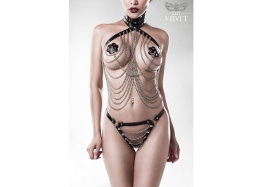 Sexy Shop Online I Trasgressivi - Sexy Lingerie - Three Part Chain Set - Grey Velvet