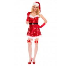Sexy Shop Online I Trasgressivi - Costume Di Natale - Rosso Con Paillettes Sexy Miss Santa - Music Legs