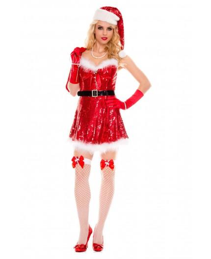 Sexy Shop Online I Trasgressivi Costume Di Natale Rosso Con Paillettes Sexy Miss Santa - Music Legs