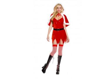Natale Donna - Costume Con Cappuccio - Music Legs