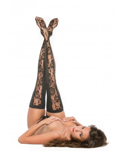 Sexy Shop Online I Trasgressivi - Calze & Collant - Lace Panel Thigh High Tights Black - Allure