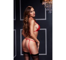 Sexy Shop Online I Trasgressivi - Sexy Lingerie - Lacy Bra Garter Open Crotch Panty 2P Red - Baci Lingerie