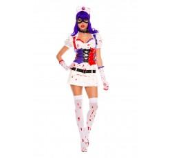 Sexy Shop Online I Trasgressivi - Carnevale Donna - Infermiera Dell'Orrore Hot Mess Harley Nurse White - Music Legs