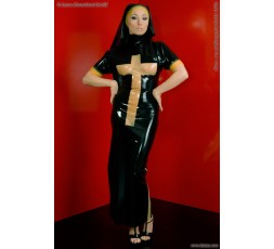 Sexy Shop Online I Trasgressivi - Halloween Donna - Costume Lucido Da Suora In Lattice - Latexa