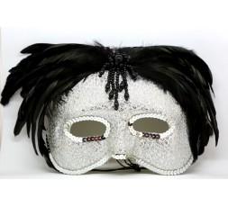 Sexy Shop Online I Trasgressivi - Accessorio Per Carnevale Unisex - Maschera In Stile Veneziano Con Le Piume Nere
