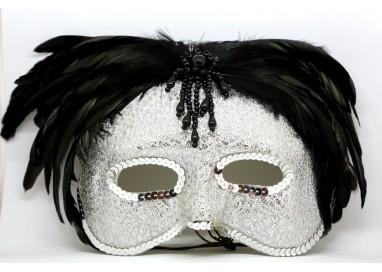 Accessorio Per Carnevale Unisex - Maschera In Stile Veneziano Con Le Piume Nere