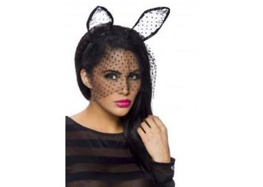 Accessorio Per Halloween - Orecchie Da Coniglietta Tulle Nere