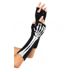 Sexy Shop Online I Trasgressivi - Accessorio Per Carnevale Unisex - Guanti Black Skeleton Fingerless Gloves – Leg Avenue