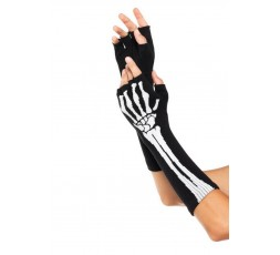 Sexy Shop Online I Trasgressivi - Accessorio Per Halloween Unisex - Guanti Black Skeleton Fingerless Gloves – Leg Avenue