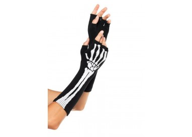 Accessorio Per Halloween - Guanti Black Skeleton Fingerless Gloves – Leg Avenue
