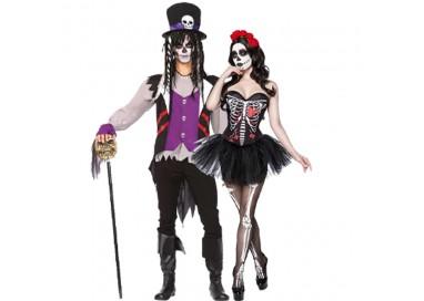 Carnevale Coppia - Costume da Skull Senorita & Da Prete Voodoo