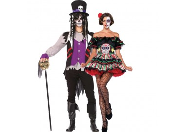 Carnevale Coppia - Costume da Day Of The Dead Doll & Da Prete Voodoo