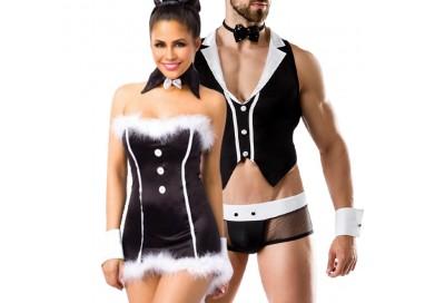 Carnevale Coppia - Costume Da Coniglietta Sexy & Barkeeper Costume Man Roleplay