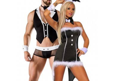 Carnevale Coppia - Costume Sexy Da Coniglietta & Barkeeper Costume Man Roleplay