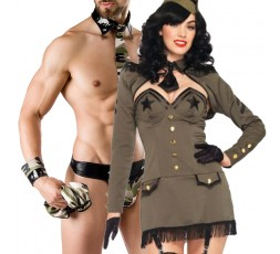 Sexy Shop Online I Trasgressivi - Carnevale Coppia - Costume da Soldatessa Pin Up Army Girl & Army Costume Man Roleplay
